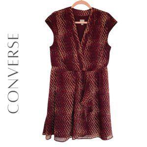 CONVERSE Snake Print Ruffle Dress, Size XL